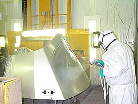 Spraying industrial finish